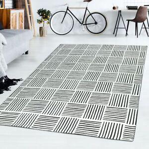 Kurzflor Teppich Modern Wohnzimmer Kariert Meliert Linien Design In
