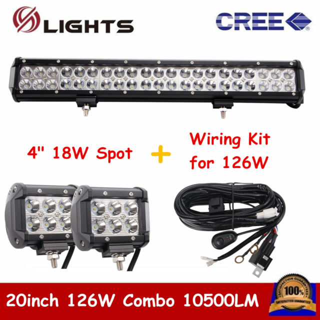 Wiring Kit 126W 20INCH BOAT LED LIGHT BAR COMBO OFFROAD FORD SUV With 18W Spot
