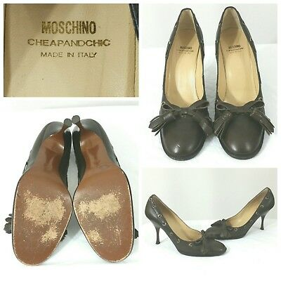 Moschino Cheap And Chic Leather Shoes Heels Pumps Brown Tassel Round Toe Size 10 Ebay