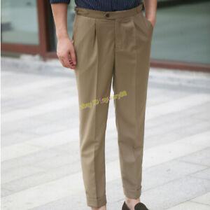 Vintage-High-Waist-Paris-Buckle-Gurkha-Pants-Men-039-s-Pleated-Slim-Suit-Trousers