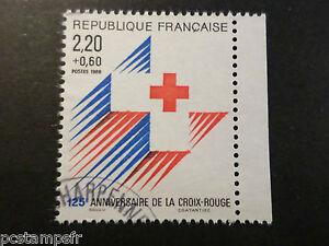 FRANCE-timbre-2555a-croix-rouge-de-carnet-oblitere