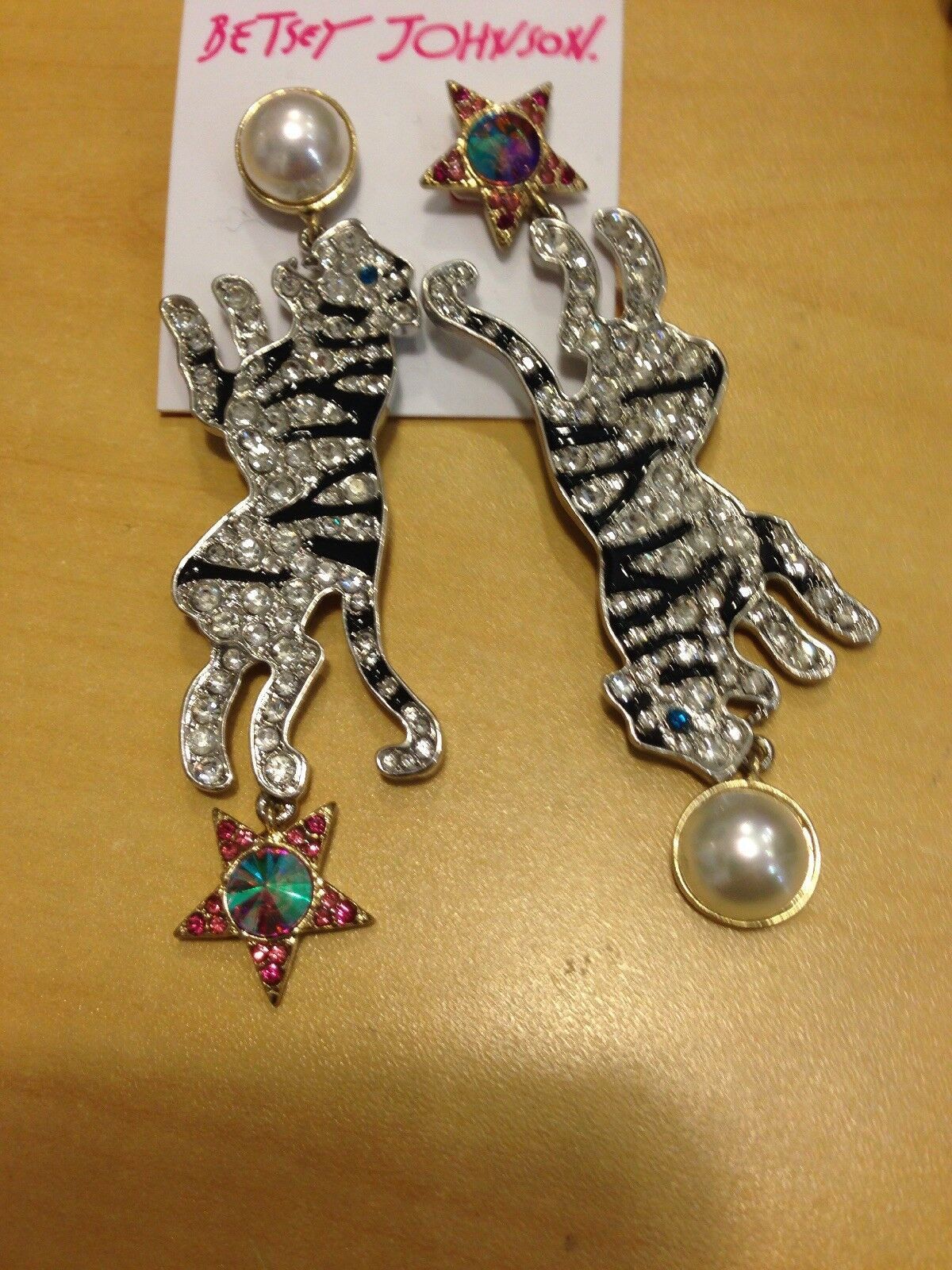 Betsey Johnson Magical Creatures Tiger Drop Pierced Earrings NWT  58
