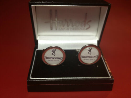BERETTA /& ANSCHUTZ SILVER PLATED CUFF LINKS IN METAL DISPLAY CASE BROWNING