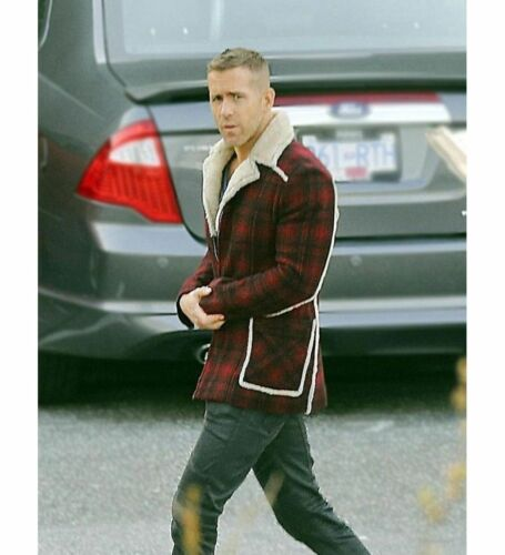 Jacket Ryan Coat e donna Fur Deadpool uomo per Reynolds Red Shearling xRPRUwqCX