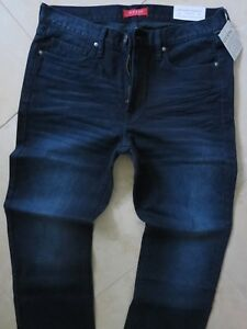 Guess-Straight-Leg-Jeans-Men-039-s-Size-36-X-34-Classic-Distressed-Dark-Blue-Wash