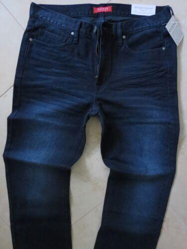 Guess Straight Leg Jeans Men/'s Size 36 X 34 Classic Distressed Dark Blue Wash