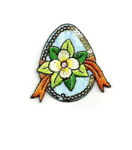 Easter Egg Easter Flower Embroidered Iron On Applique Patch Spring