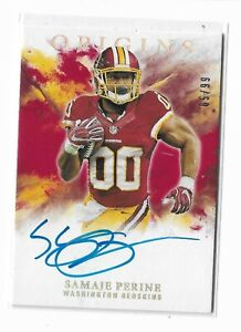 2017-Panini-Origins-Football-Rookie-Autographs-Red-Samaje-Perine-65-99-Redskins