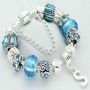 Personalizado Chicas Joyería Azul Pulsera De Plata cualquier regalos de cumpleaños inicial