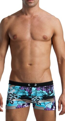 Geronimo Mens Swimwear Floral Boxer Brief Trunks Swimming Wear Summer Blue Red