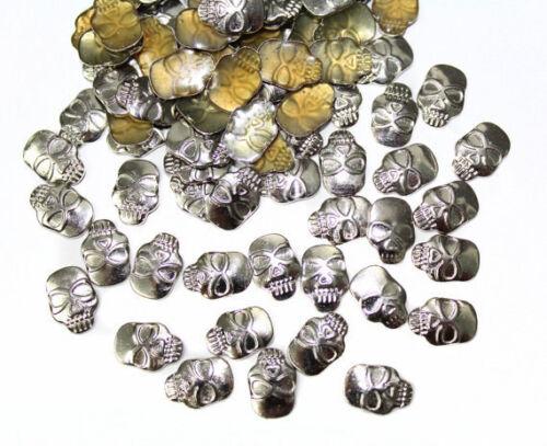 150 pcs Silver Gothic Skull Cabochons Flat Back Hotfix Iron On Scrapbooking