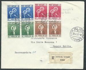 Initiative 1957 Vaticano Storia Postale S. Domenico Savio Quartina Timbro Arrivo - Bf DéLicieux Dans Le GoûT