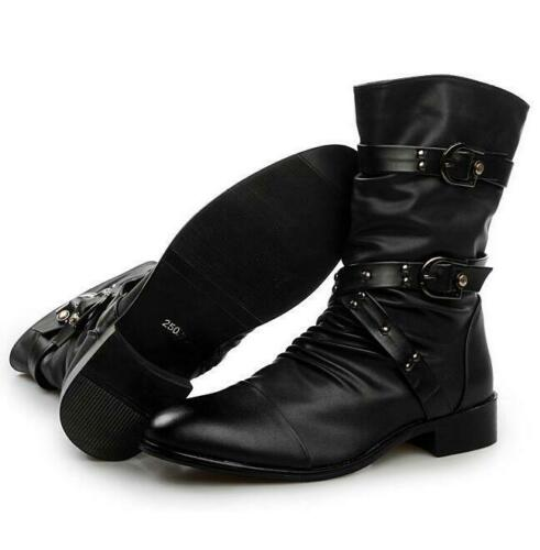 Men Punk Zipper Buckle Belt Ankle Boots Pointy Toe Vintage Gothic Rock Shoes