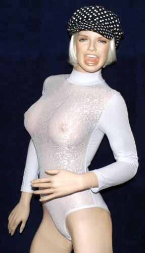 Weiß Spitzen Langarm Einteiler Baumwoll Body mit langen Arm mit Kragen Gr S