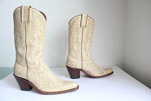 Sancho-hand-made-Western-Cowboy-High-Boots-Stiefel-Echtleder-Beigetoene-Eu-37