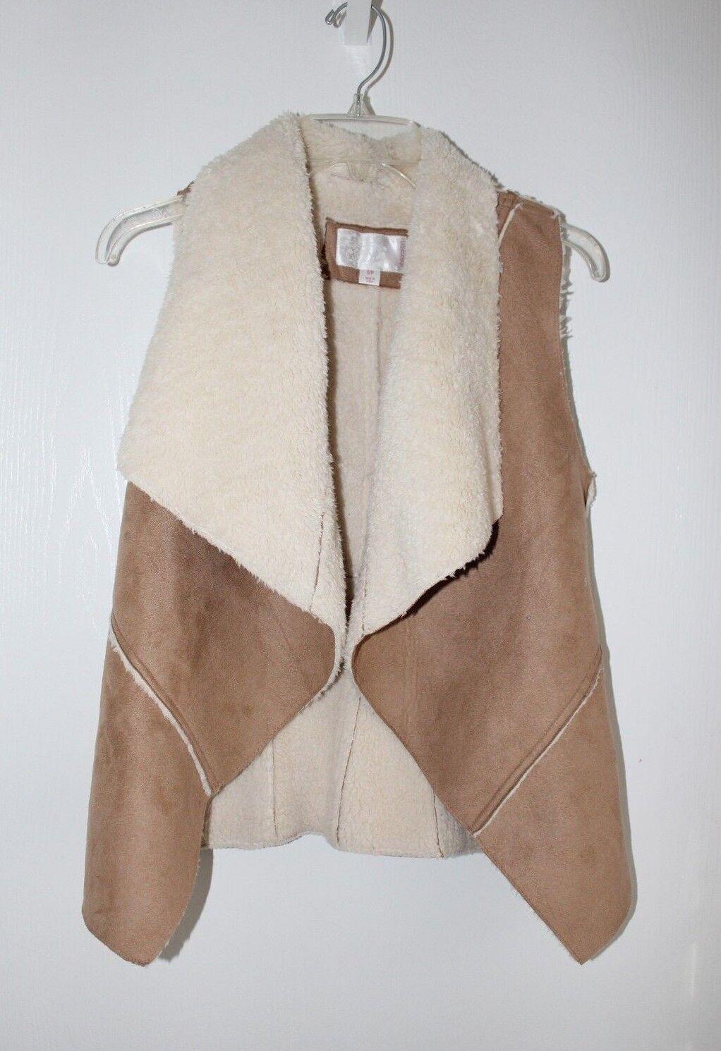 Xhilaration Women's Sz S Faux Suede Shearling Vest Draped Warm Casual Open Front