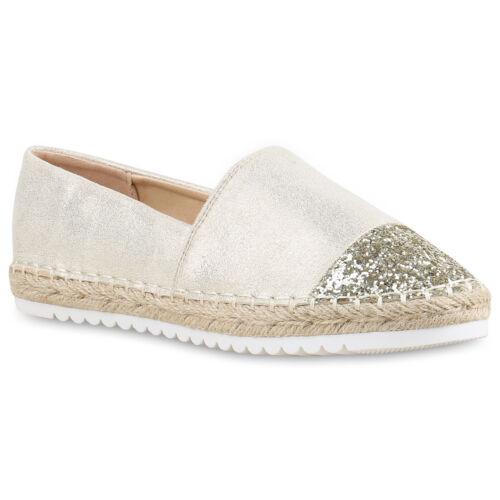 Damen Slipper Espadrilles Bast Lack Flats Freizeit Schuhe 814448 Trendy