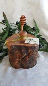 Olivenholz-Honigtopf-3-teilig-rustikal-Handarbeit-Holz-Olivenol-Baum-HT1