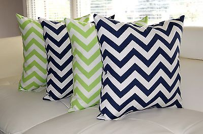 Lime Green and Navy Blue Outdoor Pillows, Chevron Geometric Patio Pillow - 4 Pk