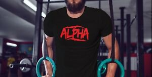 Alpha-Mens-Workout-tshirt-Muscle-Tee-Gym-Fitness-Clothing-Bodybuilding-Shirt