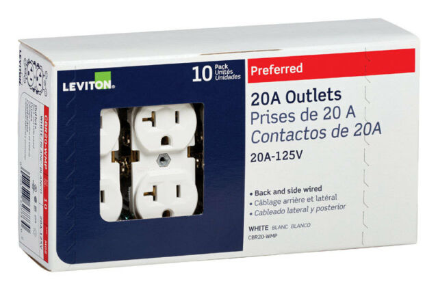 Leviton Commercial Duplex Receptacle Outlet 20Amp White Shallow Design 10 Pack