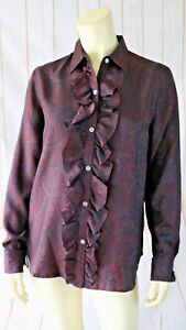 Ralph-Lauren-Silk-Blouse-S-New-Ruffle-Button-Front-Maroon-Brown-Paisley-Chic