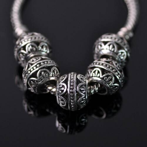 5pcs Antique Tibetan Silver Metal Loose European Charm Big Hold Beads 21Styles
