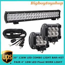 """126W 20"""" LED LIGHT BAR COMBO Kit DRIVING OFFROAD 4WD SUV JEEP Pair Flood 4"""" 18W"""