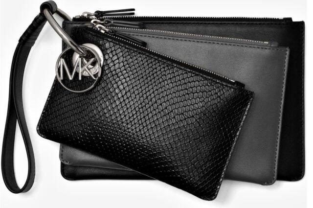 Michael 3 Leather Kors Black Bag New 32f8sf9u7n 1 In Trio Clutch 0wXk8nOP
