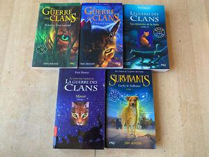 lot 4 livres série La Guerre des Clans + Survivants T1 en bonus - formats poche