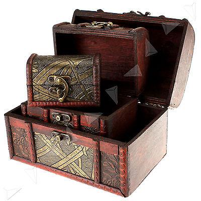 3 x Wooden Pirate Jewellery Storage Box Case Holder Vintage Treasure Chest