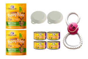 Wellness Natural Puppy Bites Training Treats Soft & Grain Free Canned Food & Lid