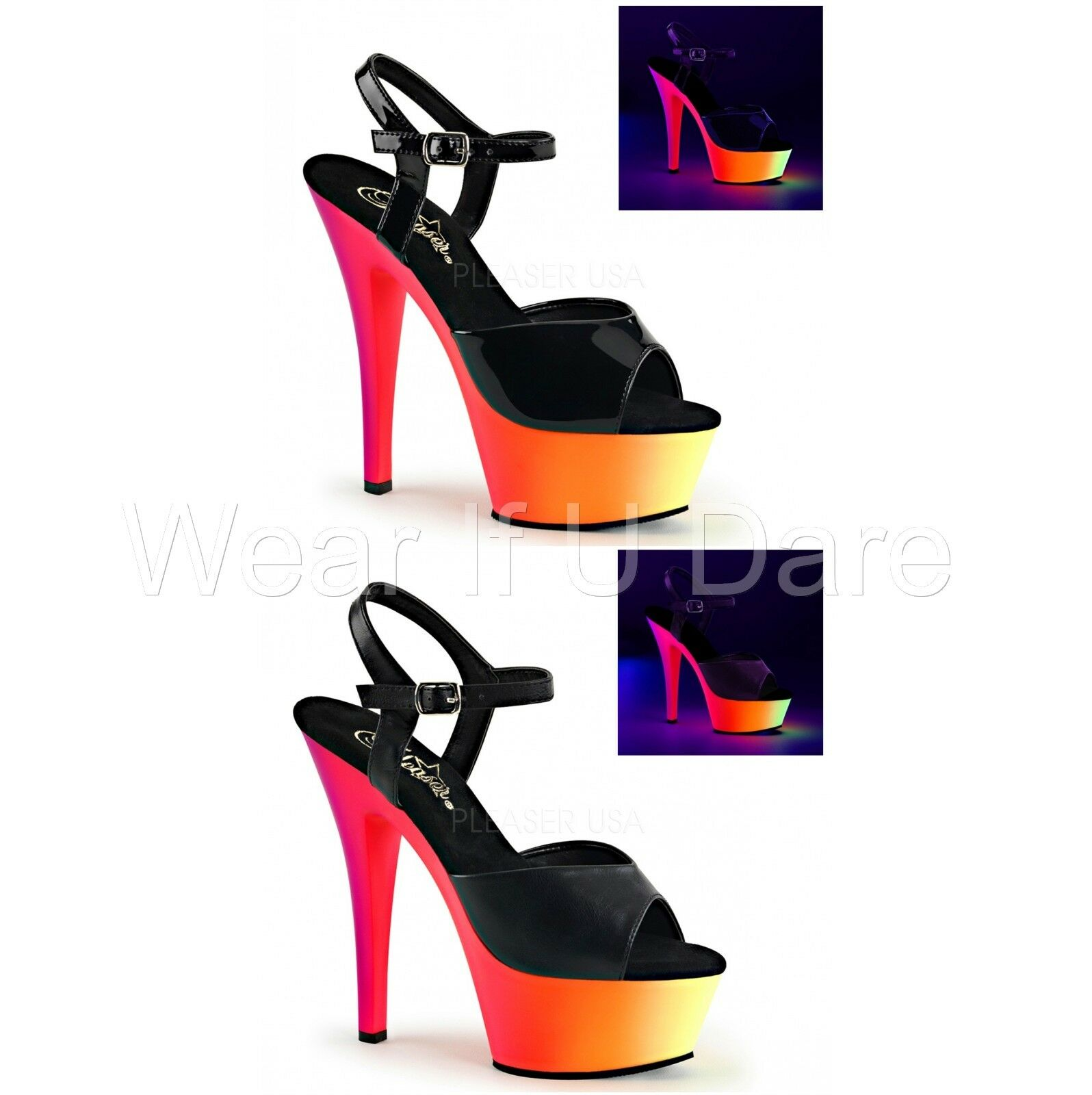 PLEASER RAINBOW-209UV BLACK PLATFORM POLE DANCING STILETTO HEEL Schuhe SANDALS