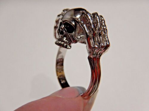 HUMAN SKULL /& SKELETAL HANDS FIGURAL RING gothic biker punk horror silver V3