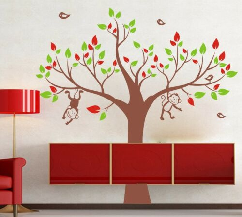 MONKEY Tree BIRD Removable Wall Art Stickers Kids Nursery Baby Room Vinyl Decals