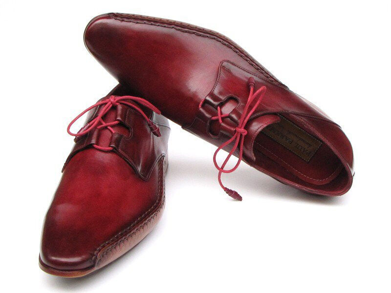 Paul Parkman Men's Ghillie Lacing Side Handsewn Dress shoes - Burgundy Leather U