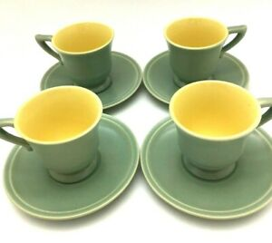 Vintage-Gladding-McBean-Franciscan-Green-and-Yellow-Demitasse-cup-and-Saucer-set