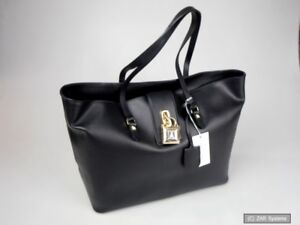 at78 Patrizia Echtleder Lock 2v6066 Fly In Shopper Pepe Schwarz Handtasche k103 BE0EwxUq