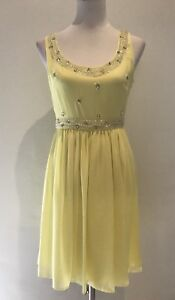 REVIEW-Ladies-Yellow-Casual-Event-Cocktail-Dress-Women-039-s-Size-8
