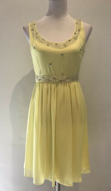 REVIEW Ladies Yellow Casual Event Cocktail Dress Women's Size 8