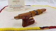 """7.5"""" Mini Peace Pipe w/bead - Native American Catlinite Pipestone Chanupa"""