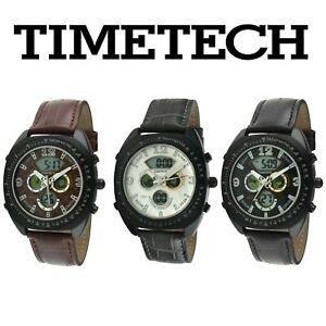 Timetech Men Sport Analog Digital Multi-Function Watch /w Alarm & Leather Strap