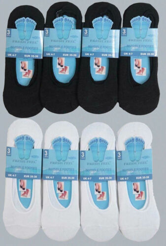 6x Pairs Mens Womens White /& Black Cotton Rich Summer Invisible Trainer Socks