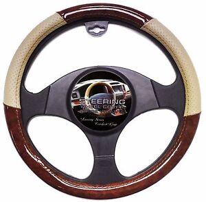 wood grain car steering wheel cover beige tan luxury grip vinyl ebay. Black Bedroom Furniture Sets. Home Design Ideas