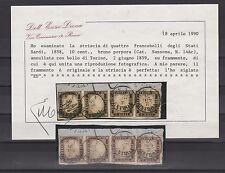 FRANCOBOLLI 1859 SARDEGNA STRISCIA DI 4 C.10 BRUNO PORPORA TORINO 2/6 Z/5015