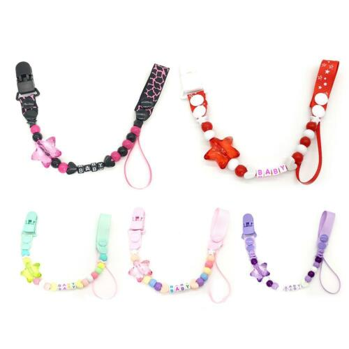 Popular Cute Baby Soother Beaded Pacifier Dummy Clip Chain Holder Infant UK
