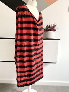 NICOLE-FARHI-Dress-Size-SMALL-RED-BLACK-STRIPE-SMART-CASUAL