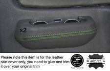 GREEN Stitch 2x POSTERIORE GRIGIO PORTA INTERRUTTORE Trim pelle COPERTINE Si Adatta Mitsubishi L200 K74