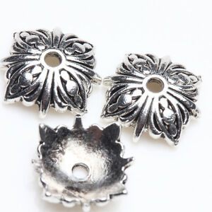 50pcs 10mm Tibetan Silver Bead Cap Metal Spacer Beads DIY Craft Jewelry Findings
