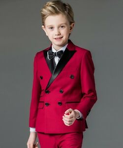 cecf320c7882 Red Kids Double Breasted Suit Wedding Boy s Suits Childrens Tuxedo ...